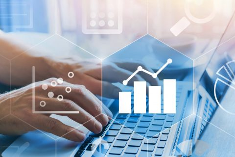 business analytics intelligence concept with digital data  diagrams and charts, finance, financial dashboard of company